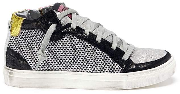 P448 Glitter mesh panelled high top kids sneakers