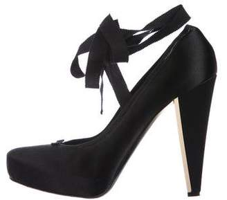 Donna Karan Satin Round-Toe Pumps