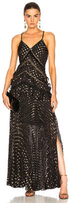 Self-Portrait Metallic Polka Dot Maxi Dress