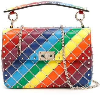 Valentino Patchwork Medium Rockstud Spike Bag