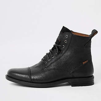 Levi's black leather lace-up boots