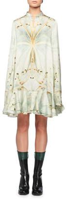 Alexander McQueen Mandarin-Collar Glass-Wing Print Swing Peplum-Hem Mini Dress