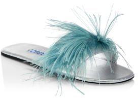 pradaPrada Feather & Metallic Leather Slides
