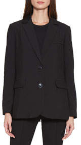 Andi Button-Front Pocketed Blazer