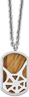 FINE JEWELRY Mens Tigers Eye Stainless Steel Dog Tag Pendant
