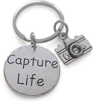 JewelryEveryday Capture Life Disc Charm with Camera Charm Keychain Encouragement Gift