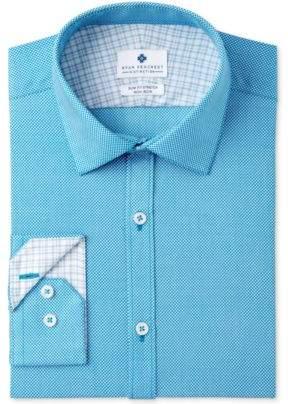 Ryan Seacrest Distinction Ryan Seacrest DistinctionTM Men's Slim-Fit Stretch Non-Iron Teal Print Dress Shirt, Created for Macy's