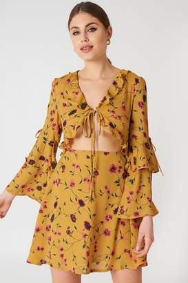 Glamorous Long Sleeve Mini Dress Mustard Floral