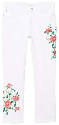 MANGO Embroidered straight cropped jeans