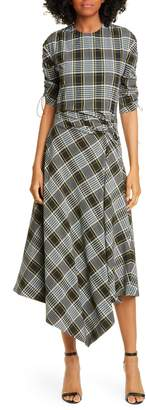 Jonathan Simkhai Plaid Asymmetrical Ruched Crepe de Chine Dress