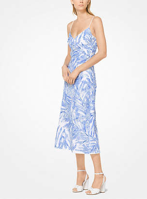 Michael Kors Palm Sequin Linen-Crepe Slip Dress