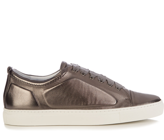 LANVIN Metallic low-top leather trainers $541 thestylecure.com