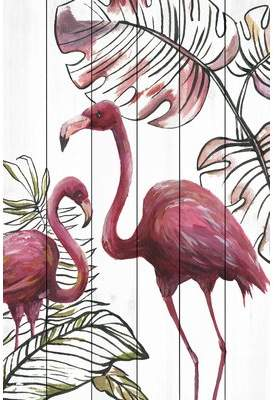 Flamingos Bay Isle Home 'Tropical I' Acrylic Painting Print on Wood
