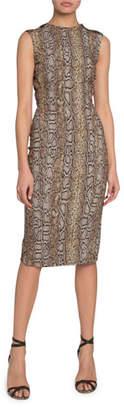 Victoria Beckham Sleeveless Snake Jacquard Dress