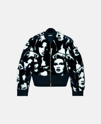 fur free fur faces print bomber jacket