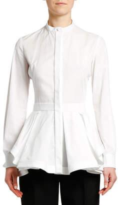 Alexander McQueen Fit & Flare Poplin Button-Front Blouse
