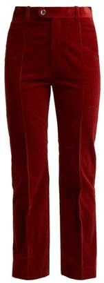 Chloé Mid Rise Cotton Blend Corduroy Trousers - Womens - Dark Red