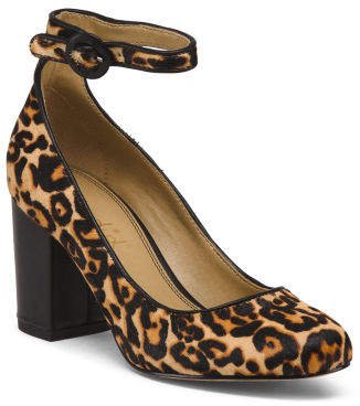 Leopard Block Heel Haircalf Pumps