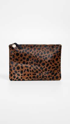 Clare Vivier Leopard Flat Haircalf Clutch