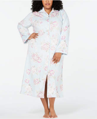 Miss Elaine Plus Size Printed Brushed Fleece Zip Robe