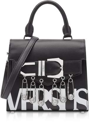 Versace Versus  Versus Black/optic White Leather Versus Vintage Logo Iconic Satchel Bag W/buckle And Safety Pins