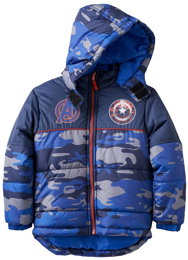 Boys 4-7 Marvel Avengers Captain America Camouflage Midweight Hooded Puffer Jacket