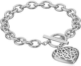 ELYA Jewelry Womens High Polish Filigree Heart Charm Stainless Steel Cable Chain Bracelet