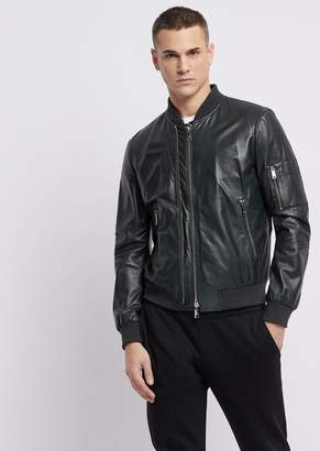 Emporio Armani Soft Nappa Bomber Jacket With Double Slider Zipper
