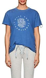 NSF Women's Moore Rose-Print Distressed Cotton T-Shirt - Blue Size S