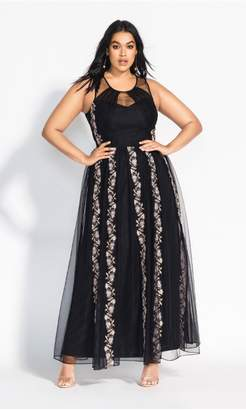 City Chic Citychic Climbing Vine Maxi Dress - black