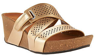 Clarks Leather Perforated Slip-on Wedge Sandals- Auriel Bright