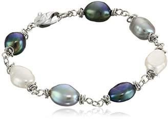 "Honora Tuxedo"" Freshwater Cultured Pearl Link Bracelet"