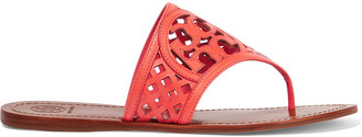 Tory Burch Thatched laser-cut leather sandals $195 thestylecure.com
