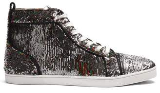 Christian Louboutin Bip Bip Orlato High Top Embellished Trainers - Womens - Silver Multi