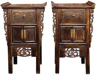 One Kings Lane Vintage Qing Carved Cabinets - Set of 2 - de-cor