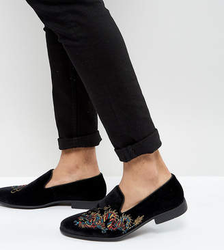 Asos Wide Fit Loafers in Black Velvet With Dragon Embroidery