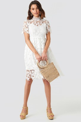484cffddd9022 NA-KD High Neck Short Sleeve Lace Dress White