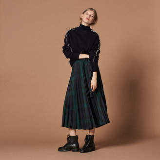 Sandro Pleated checked asymmetric skirt