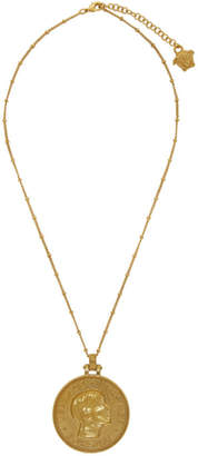 Versace Gold Donatella Coin Pendant Necklace