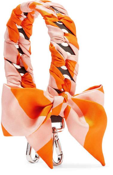 Fendi - Striped Silk-twill And Leather Bag Strap - Bright orange