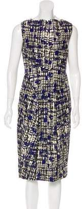 Lela Rose Wool & Silk Printed Dress