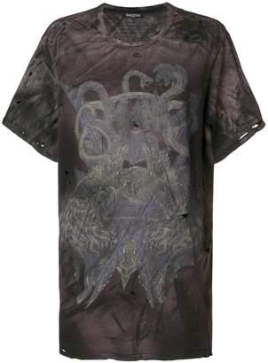 Balmain snake print distressed T-shirt