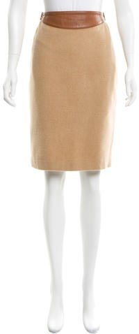Ralph Lauren Leather-Trimmed Wool Skirt