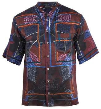 Meng - Floral Print Short Sleeved Silk Pyjama Shirt - Mens - Multi