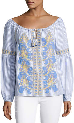 Tory Burch Embroidered Seersucker Peasant Blouse, White