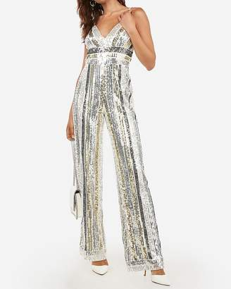 Express Sequin V-Neck Wide Leg Jumpsuit