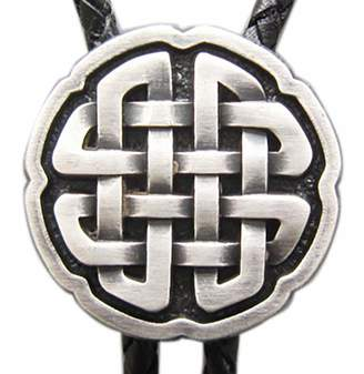 Celtic JEAN'S FRIEND Vintage Real Silver Plated Cross Knot Bolo Tie Leather Necklace Stock in US
