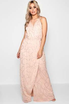 boohoo Plus Plunge Wrap Front Sequin Maxi Dress