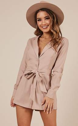 Showpo What A Girl Wants Playsuit in blush Linen Look - 14 (XL)