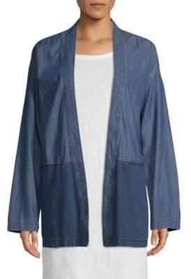 Eileen Fisher Colorblock Denim Kimono Jacket